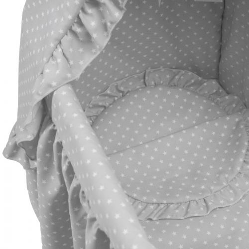 Bebelux | Moisés gris con estrellas blancas, detalle