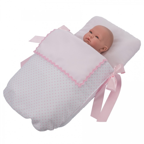Bebelux | Pink Footmuff with White Polka Dots for pram (doll not included)