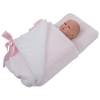 Bebelux | Pink Footmuff with White Polka Dots for pram, opened (doll not included)